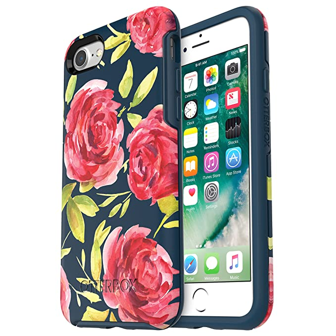 size 40 01d7e 64415 OtterBox SYMMETRY SERIES Case for iPhone 8 & iPhone 7 (NOT Plus) - Retail  Packaging - BOUQUET (BLAZER BLUE/BLAZER BLUE/BOUQUET GRAPHIC)