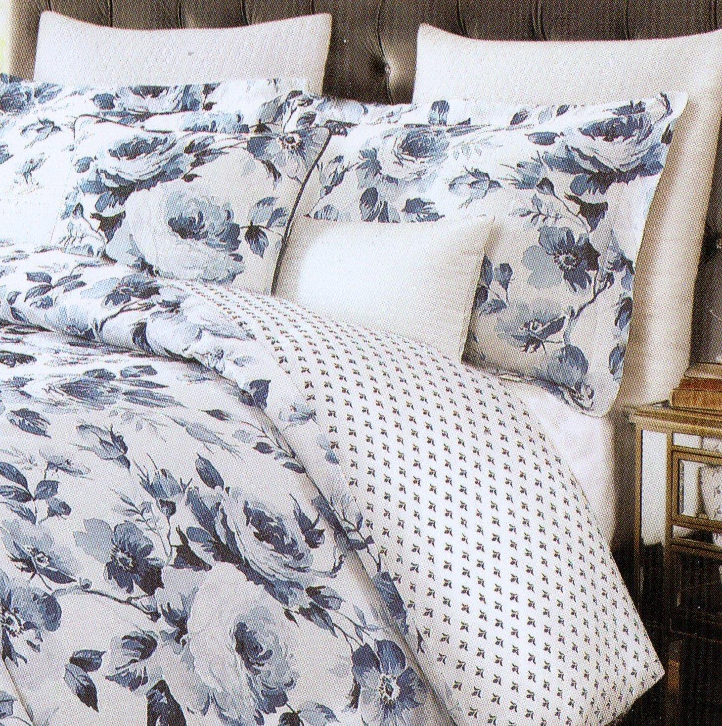 Envogue Porcelain Blue Floral Victorian Bedding 3pc Duvet Cover Set