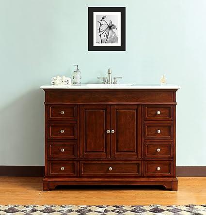 new concept fc8d5 61d5c 48-inch Rectangular Sink Bathroom Vanity Solid Wood Cabinet in Carrara Top  Diamond Cut Edge (BV8366B-48CR)