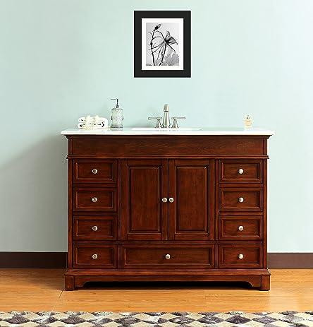 48 Inch Rectangular Sink Bathroom Vanity Solid Wood Cabinet In Carrara Top  Diamond Cut Edge
