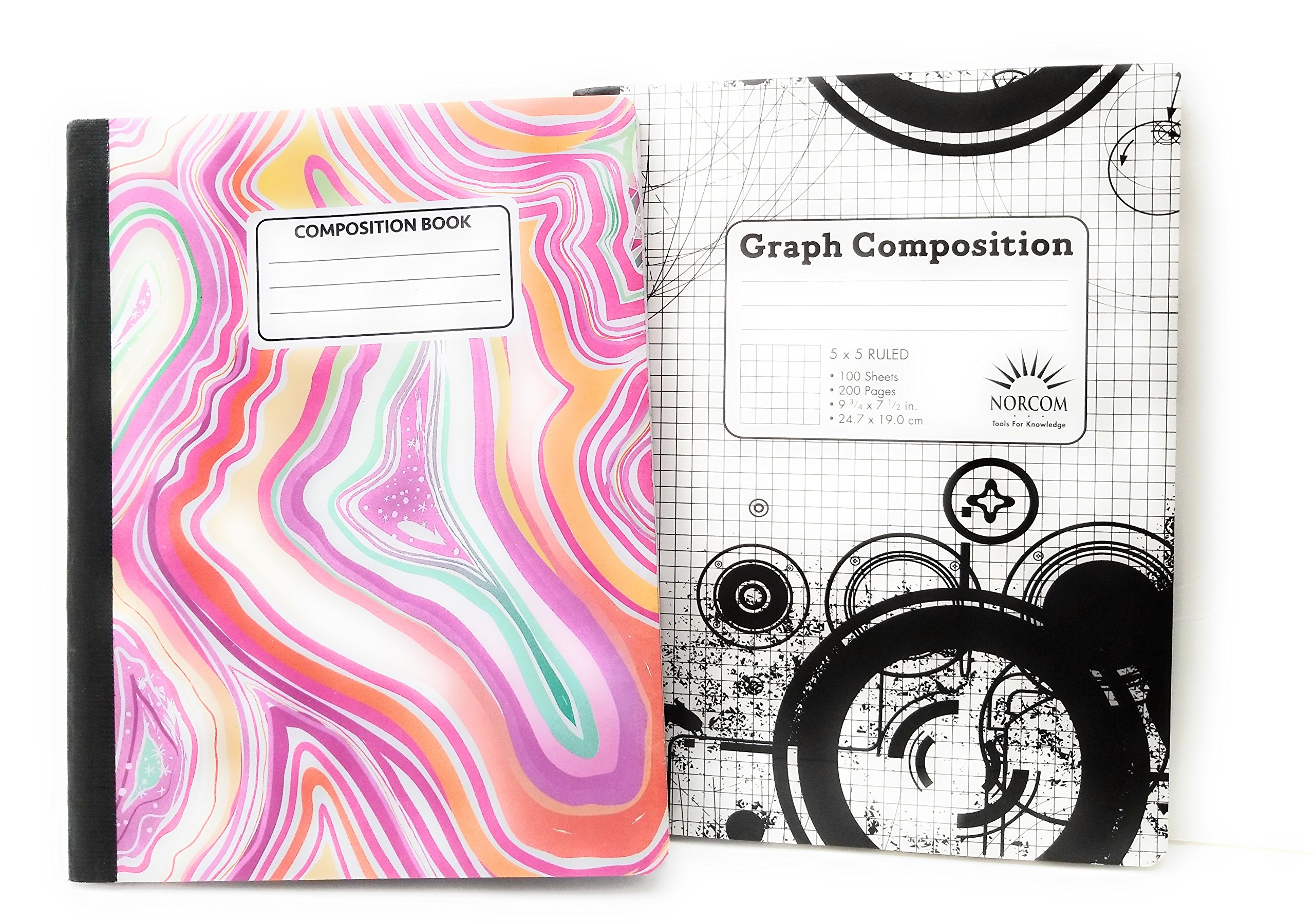 Pink Marbled Composition & 5 x 5 Graph Notebook - Pack of 2