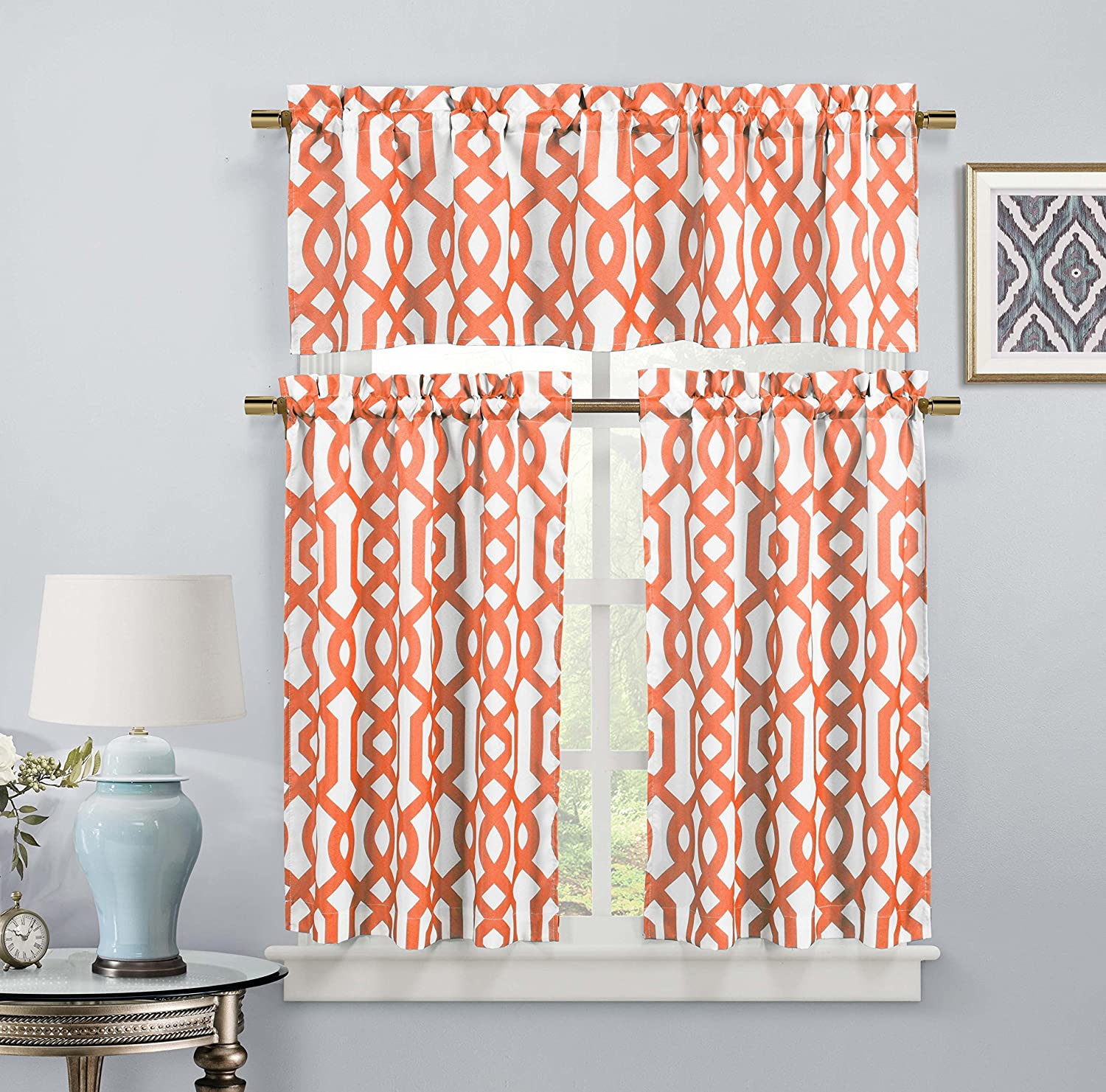 Duck River Textiles Ashmont Geometric Canvas Textured Kitchen Tier /& Valance Set Orange Bedroom - Bath Laundry Small Window Curtain for Cafe