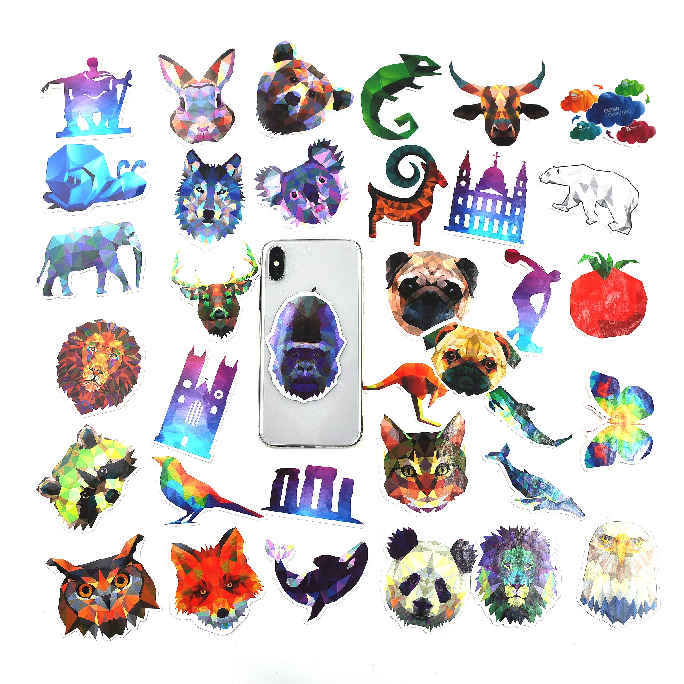 Mizzuco Vinyl Stickers Waterproof Animals Stickers 35 Pieces for Teens Girls Laptop Bumper Helmet Ipad Car Luggage Water Bottle (JH13)