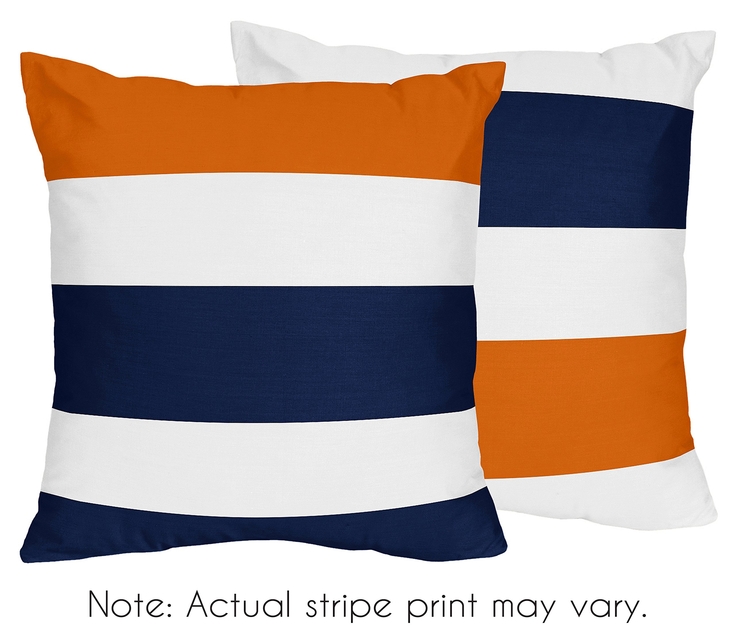 Sweet Jojo Designs 2-Piece Navy Blue, Orange and White Decorative Accent Throw Pillows for Stripe Collection