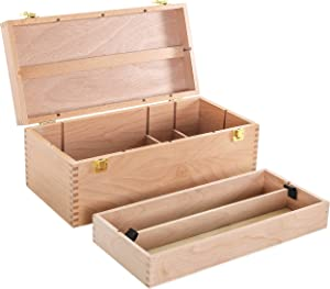 US Art Supply Artist Wood Pastel, Pen, Marker Storage Box with Drawer(s) (Large Tool Box)