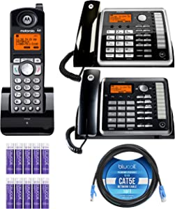 Motorola ML25254 Expandable 2-Line Business Phone with Digital Answering System Bundle with ML25260 Corded Desk Phone, ML25055 DECT 6.0 Cordless Handset, Blucoil 10' Cat5e Cable and 10 AAA Batteries