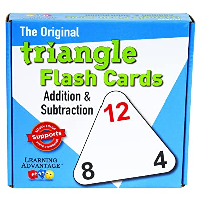 Learning Advantage Original Triangle Flash Cards - Addition and Subtraction - Set of 20 - in-Home Learning - Math Flash Cards: Industrial & Scientific