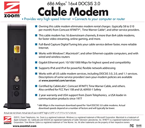 amazon com zoom 16x4 cable modem 686 mbps docsis 3 0 model 5370 amazon com zoom 16x4 cable modem 686 mbps docsis 3 0 model 5370 certified by comcast xfinity time warner cable and other service providers computers