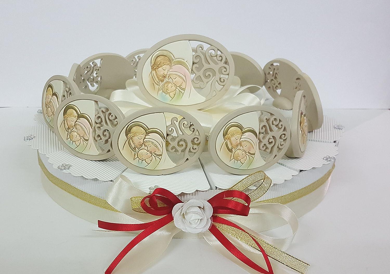 Torte Bomboniere Ikonen Heilige Familie Oval cm 9 auf Kuchen 12 Scheiben + Zentrale Taufe Kommunion Konfirmation 12 FETTE ( UN PIANO)
