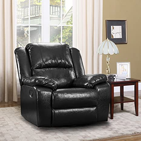 Outstanding Divano Roma Furniture Oversize Ultra Comfortable Bonded Leather Rocker And Swivel Recliner Living Room Chair Black Creativecarmelina Interior Chair Design Creativecarmelinacom