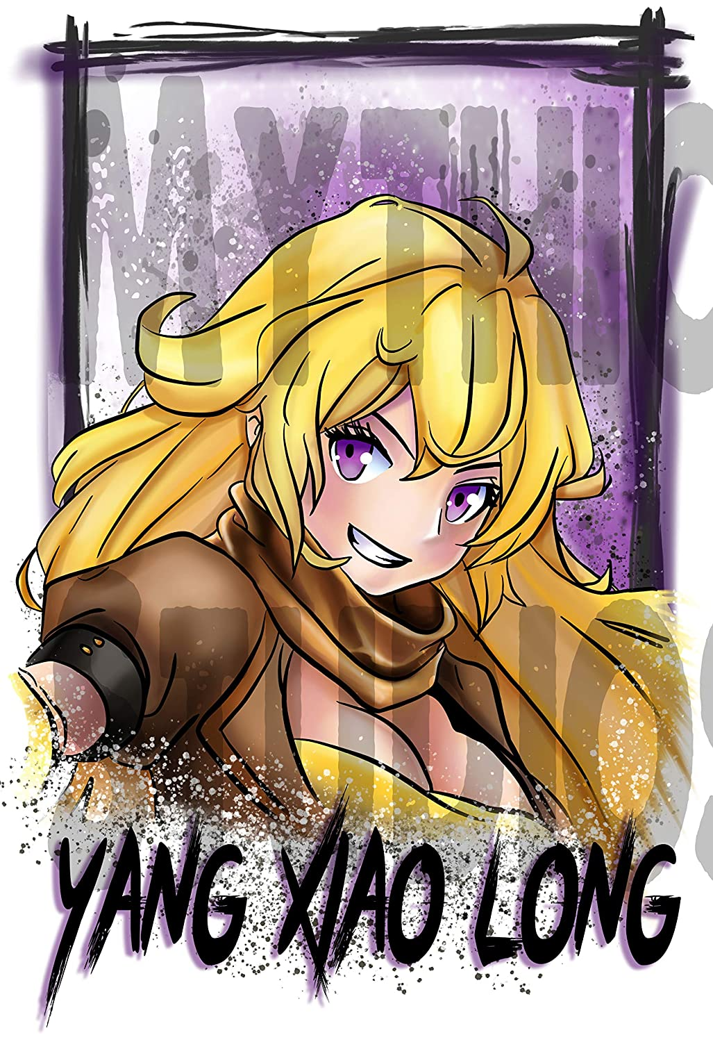 Personalized Airbrushed RWBY Yang Xiao Long License Plate Tag