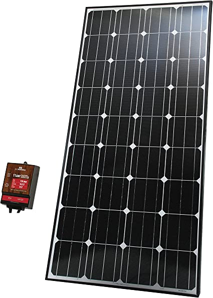 Amazon Com Ecowareness 50160 165 Watt Monocrystalline Solar Panel For 12 Volt Charging With 11 Amp Charge Controller Garden Outdoor