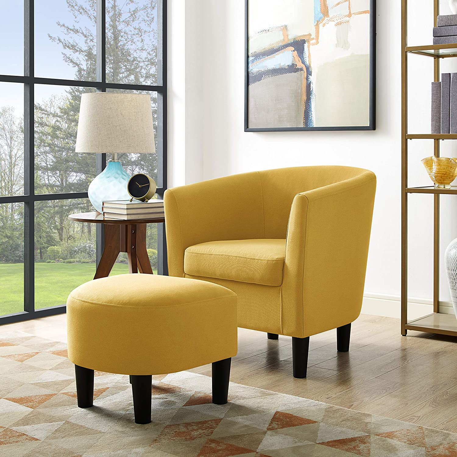 Amazon com bridge modern accent chair linen fabric arm chair upholstered single sofa chair with ottoman foot rest mustard yellow kitchen dining