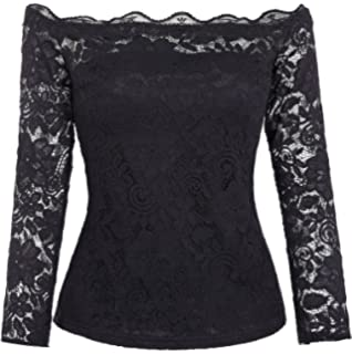 3c468bc6571 Zeagoo Women Sexy Floral Lace Off Shoulder Shirt Top Long Sleeve ...