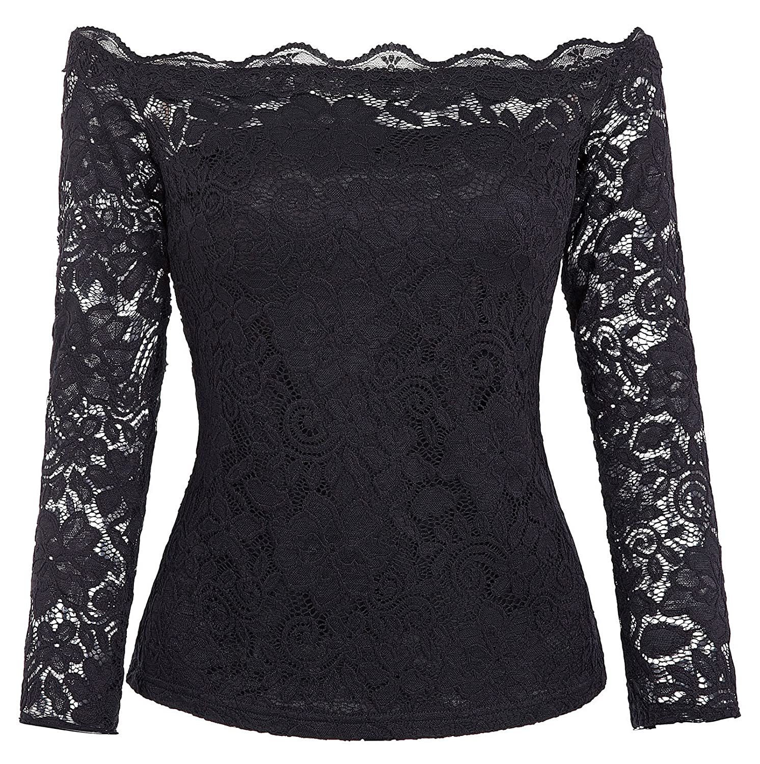9921fb3a770 Kate Kasin Women's Off Shoulder Lace Top Sexy Floral Lace Blouse T-Shirt  Long Sleeve