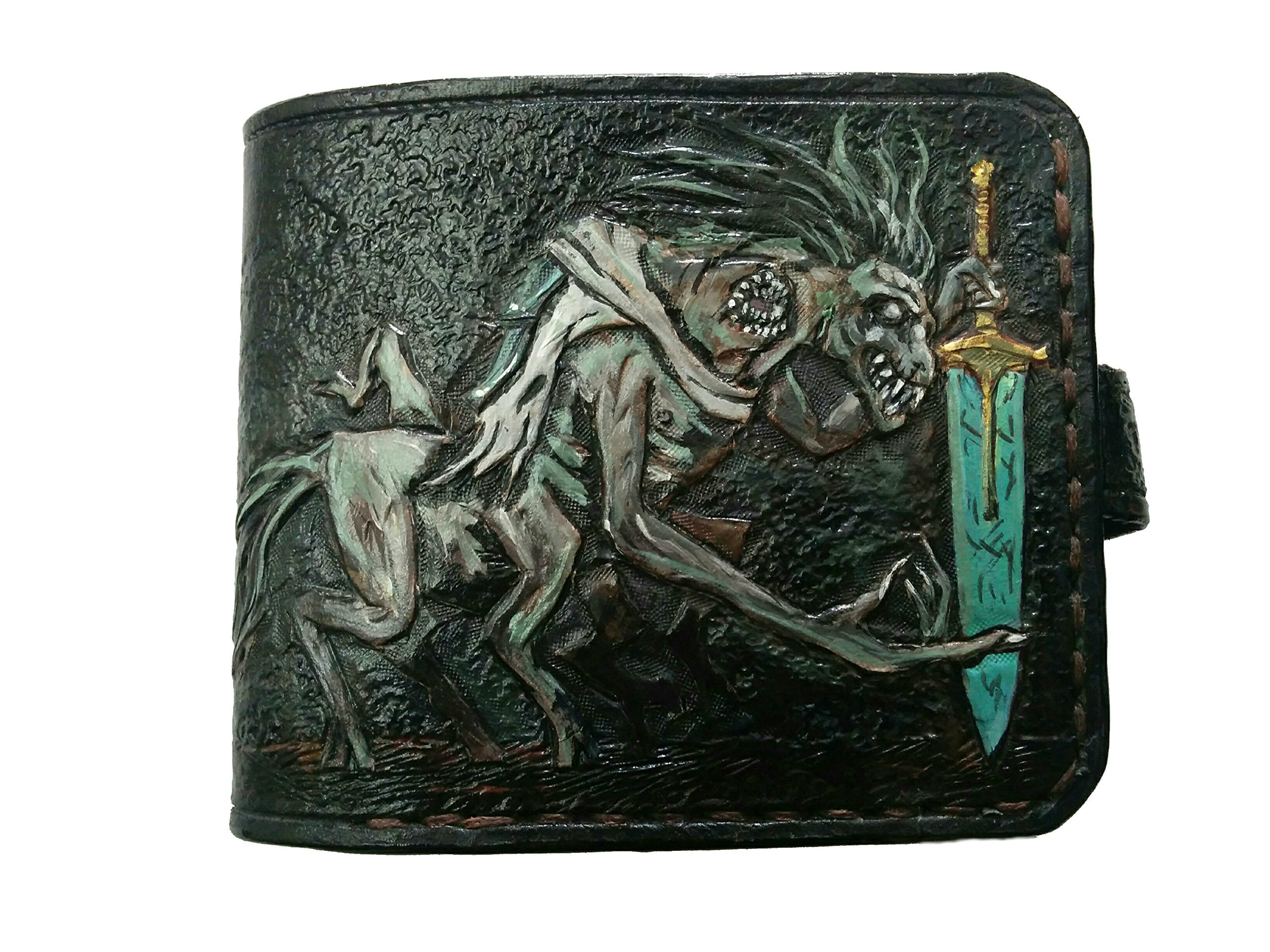 Men's 3D Genuine Leather Wallet, Hand-Carved, Hand-Painted, Leather Carving, Custom wallet, Personalized wallet, Bloodborne, The Holy Blade, Ludwig, The Old Hunters