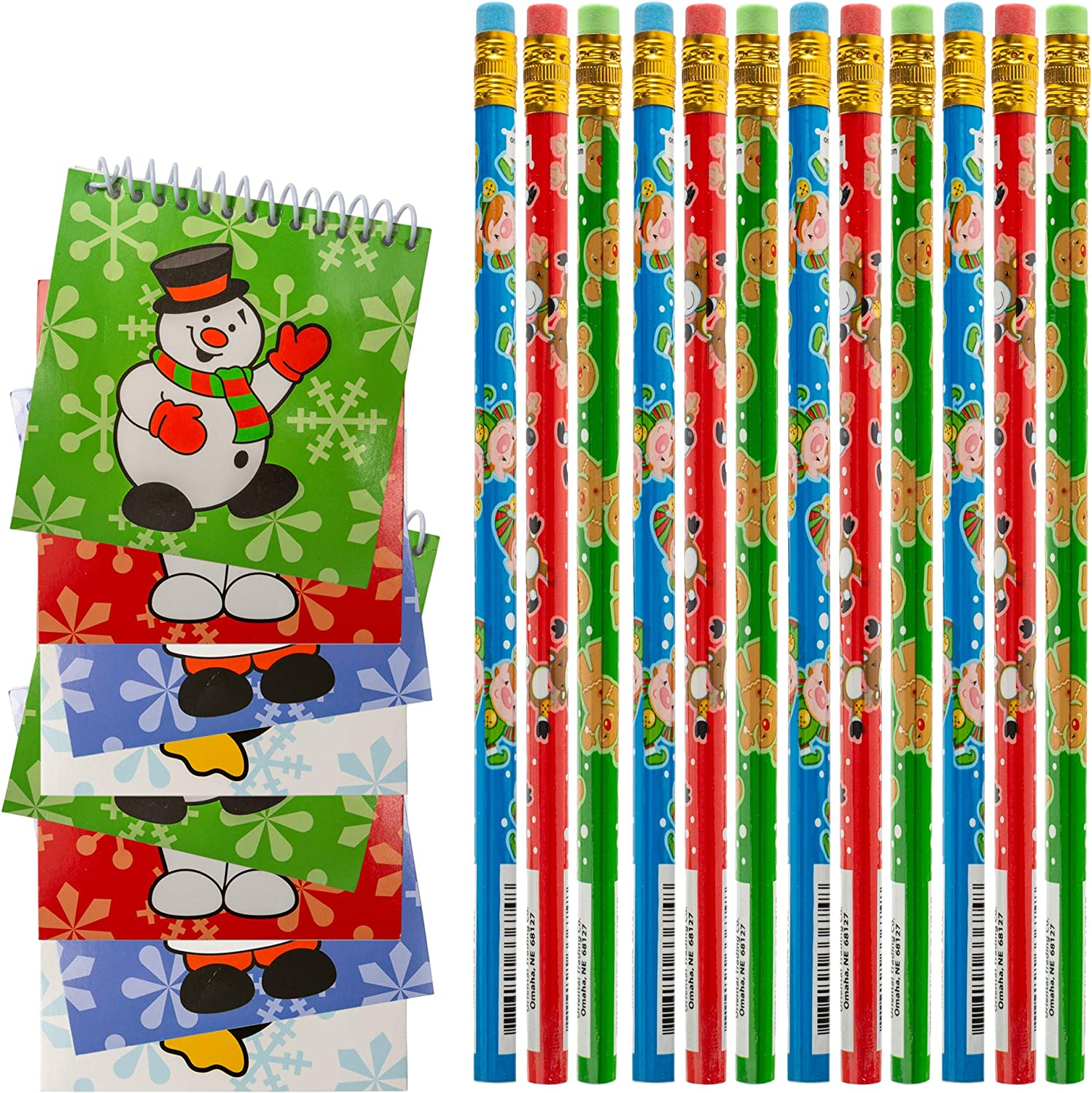 "Goody Bag Handout Assortment Kids Activity And Fun Reward Prizes 24 Pcs Christmas Party Favor Stuffers Holiday Themed 12 7/"" Coloring Books And 12 Pack Crayons"