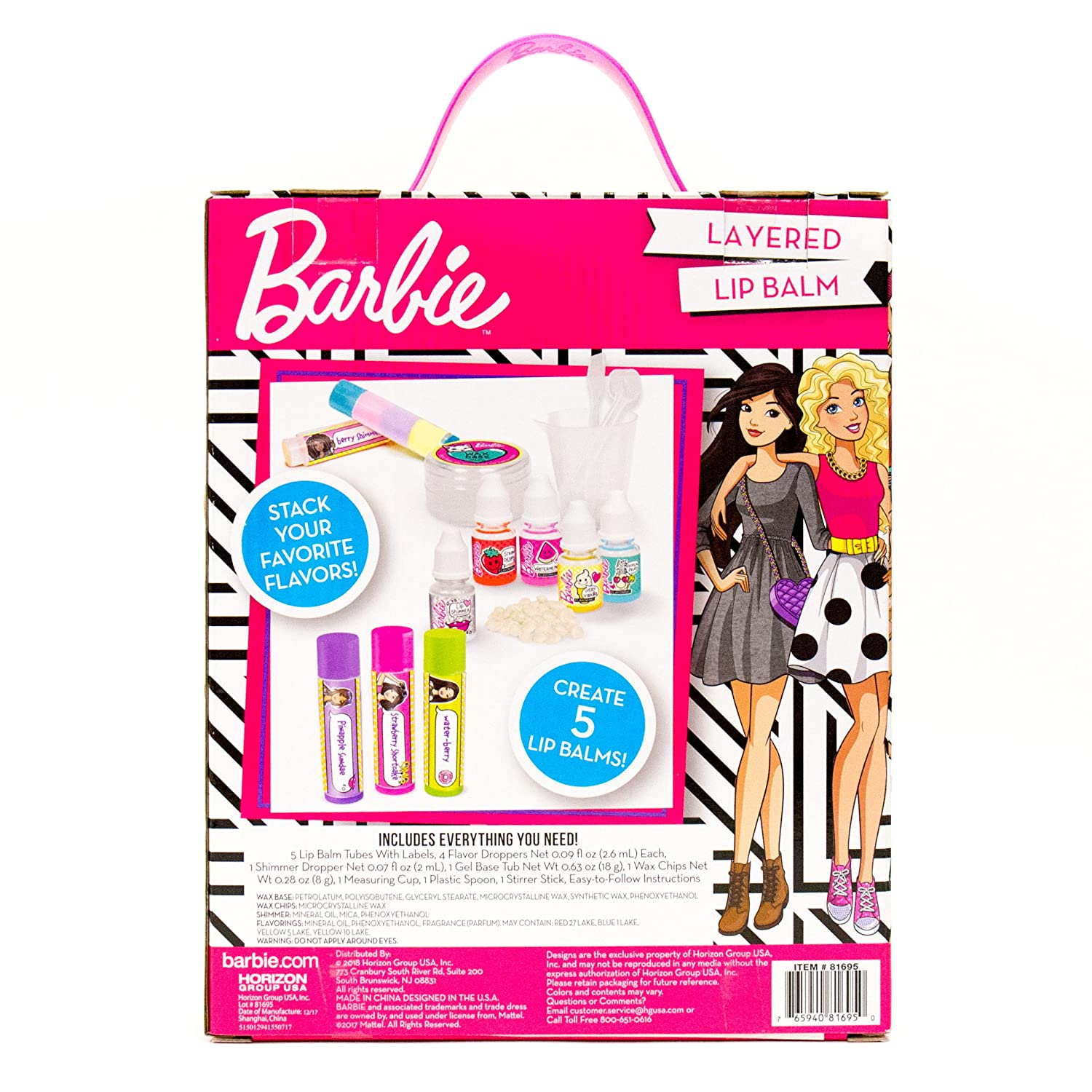 Mix and Match Flavors and Colors Barbie Make Your Own Layered Lip Balm Kit Makes 5 Custom Lip Balms
