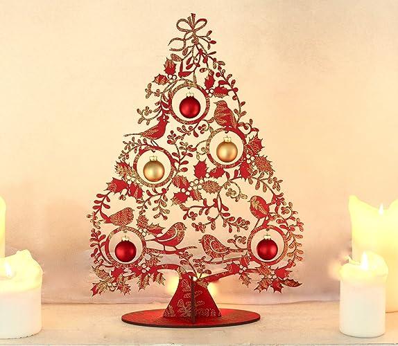 Tischdeko Weihnachten Mistelzweig Baum Rot Gold Amazon De Handmade