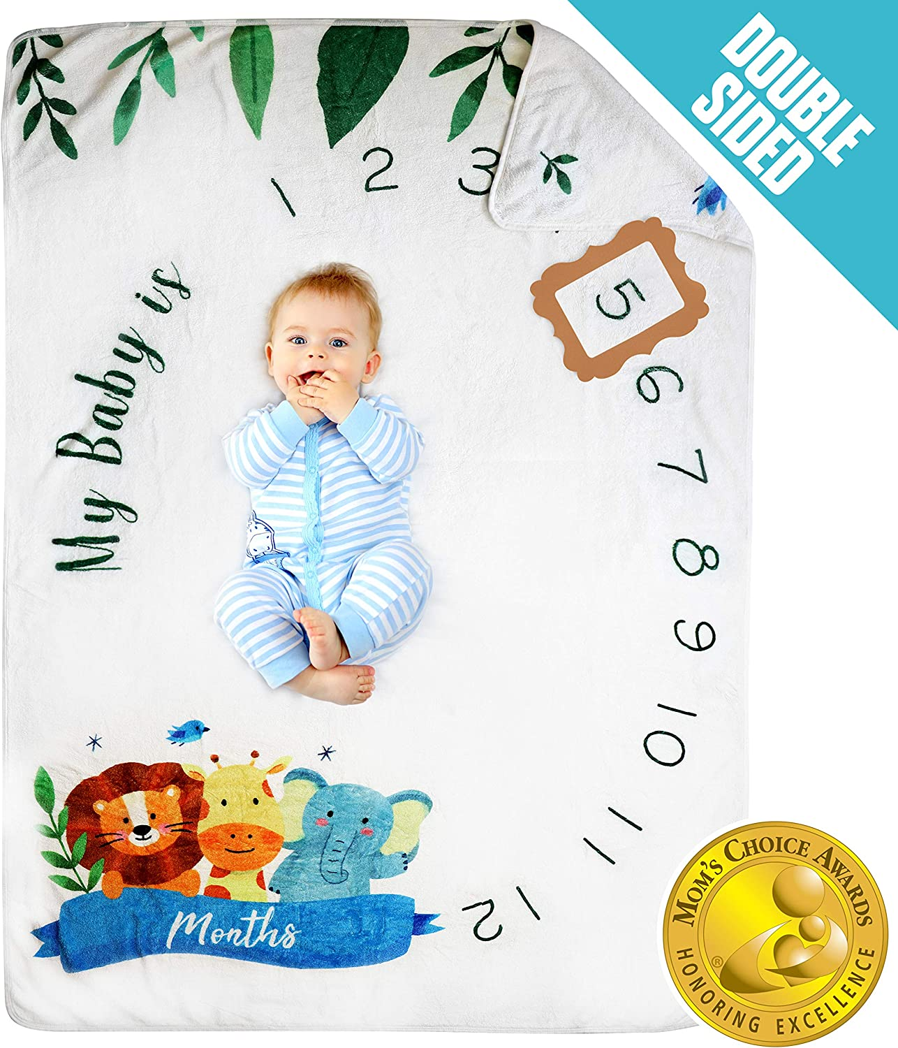 Pamperous Baby Monthly Milestone Blanket - Mom's Choice Award Winner, 100% Organic, Double Sided, Extra Thick, Photo Backdrop and Prop, Bed Blanket for Newborn Boys/Girls/Unisex