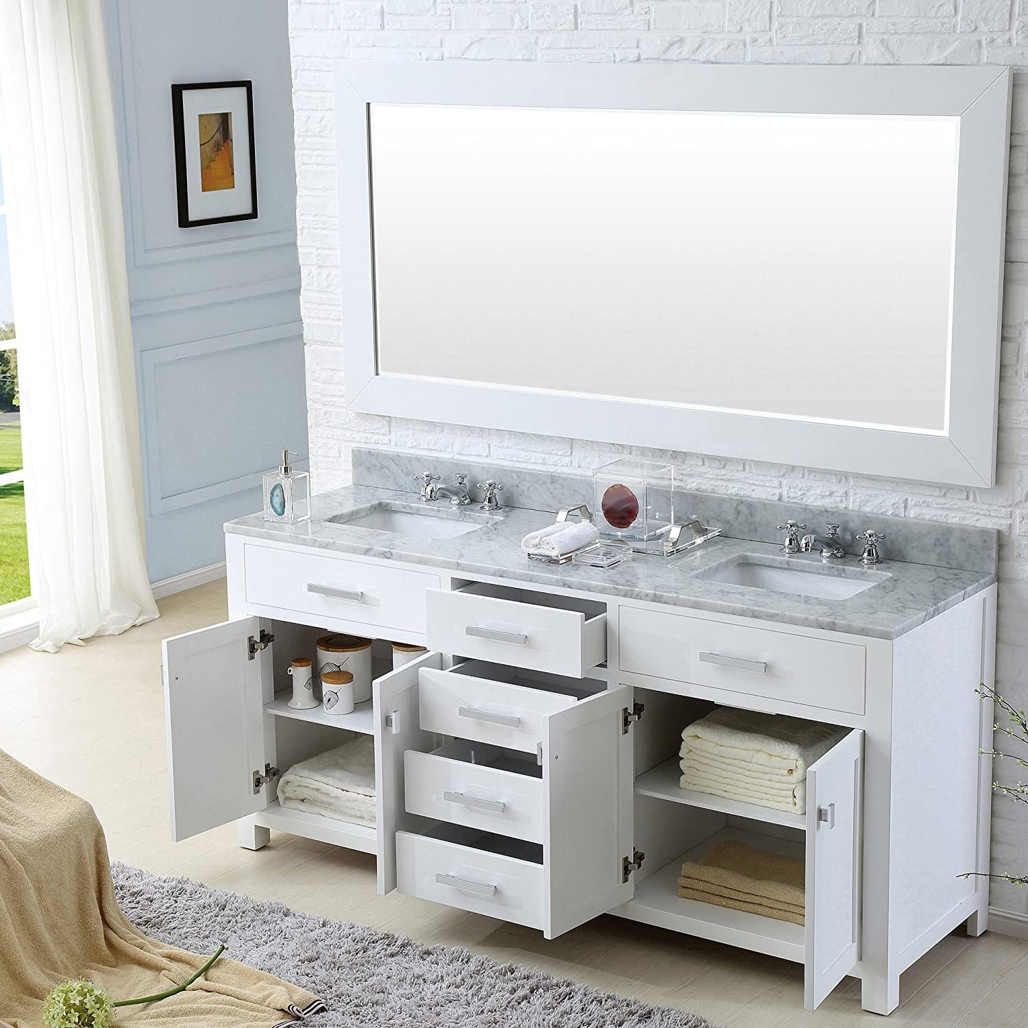 water creation madison 72w 72inch solid white double sink bathroom vanity amazoncom
