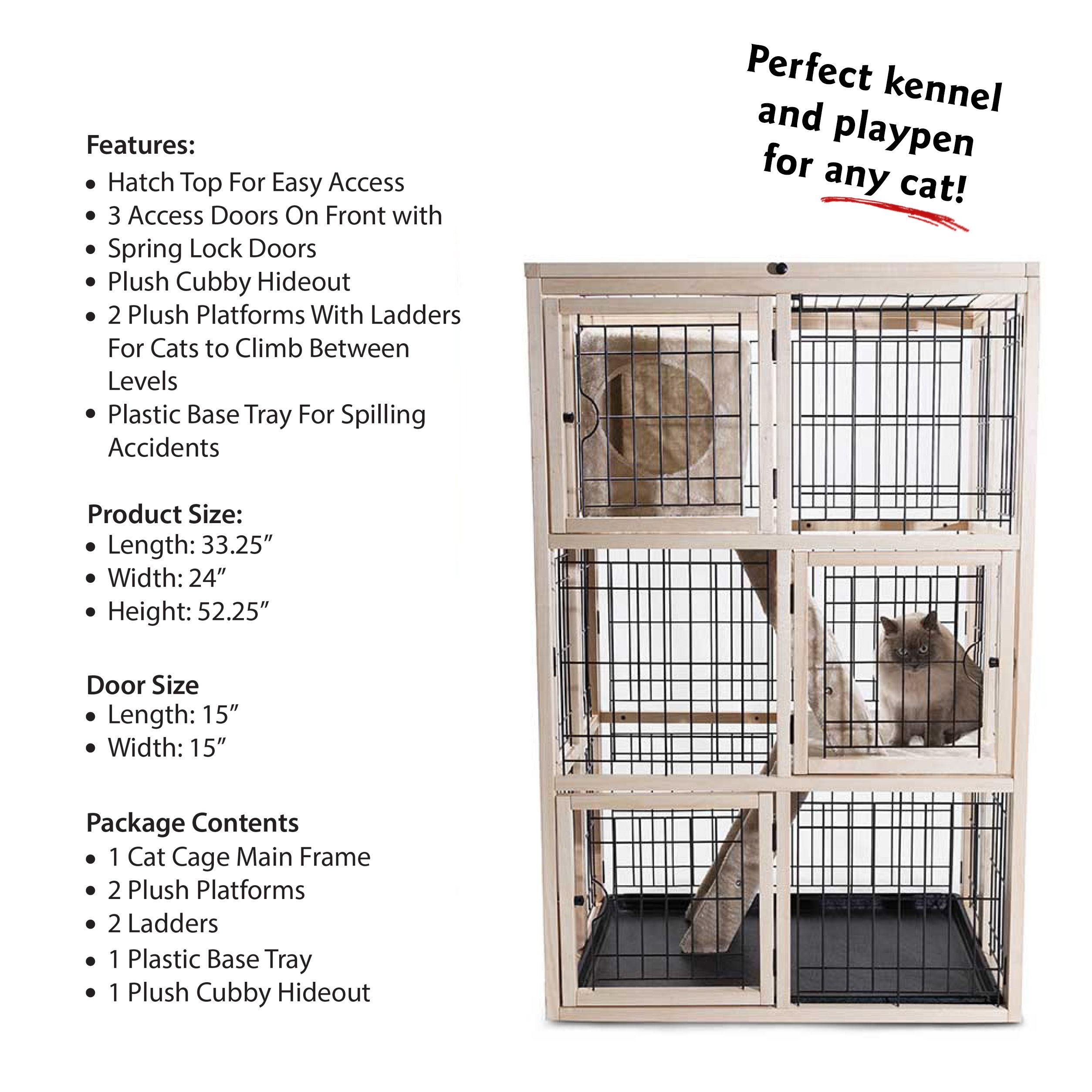 Majestic Pet Products Multi-Level Cat Kennel and Playpen Cage Condo House (52.25 x 33.25 x 24 Inch)