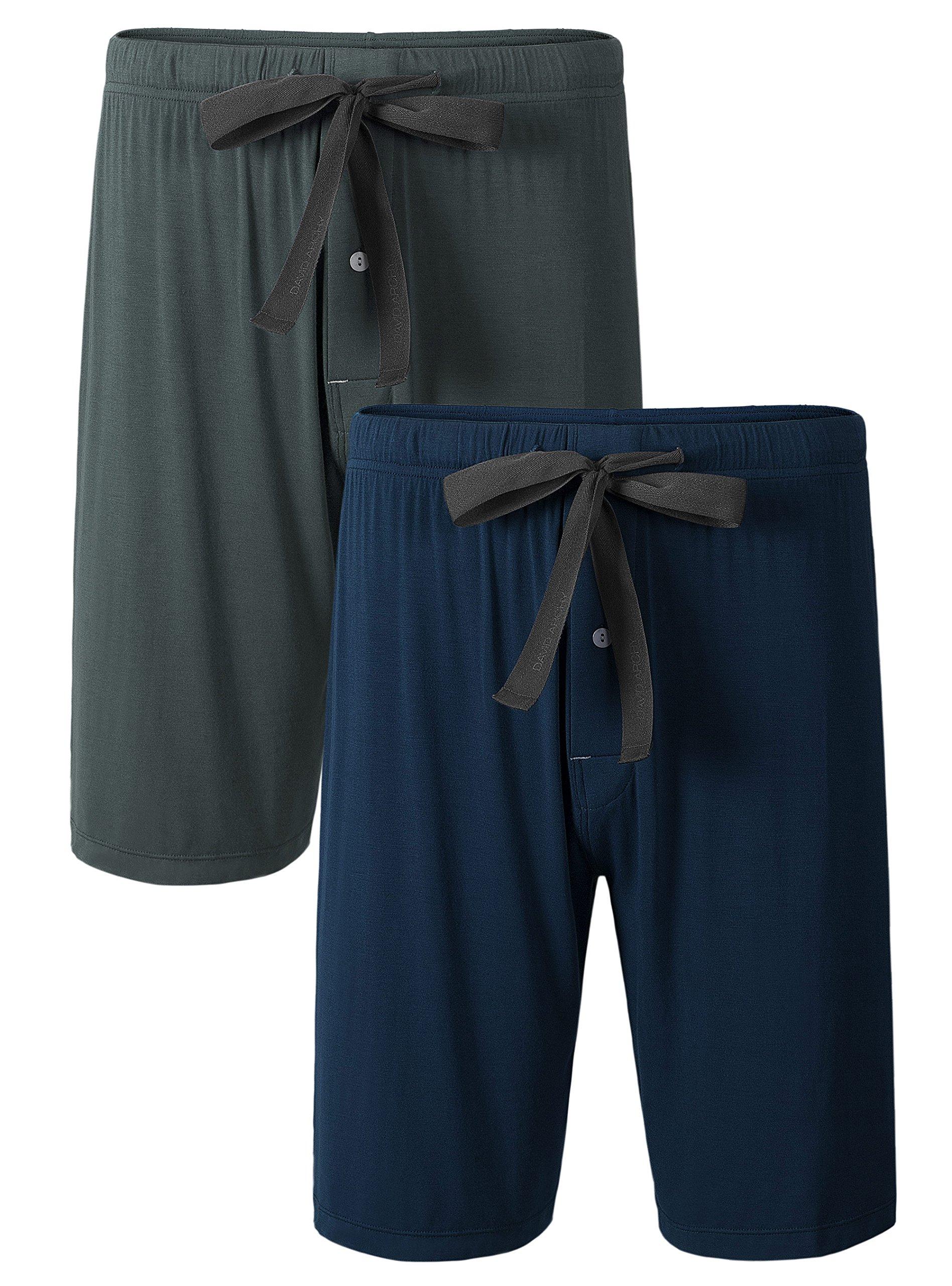 David Archy Men's 2 Pack Soft Comfy Bamboo Rayon Sleep Shorts Lounge Wear Pajama Pants (XL, Dark Gray+Navy Blue)