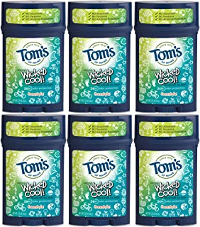 product image for Tom's of Maine Aluminum-Free Natural Wicked Cool Teen Boys Deodorant, Natural Deodorant, Deodorants, Freestyle, 2.25 Ounce, 6-Pack