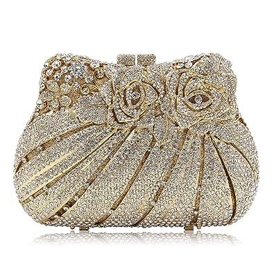 6f25a9f9127 Milisente Rose Crystal Evening Bag for Women Clutch Handbag (Gold ...