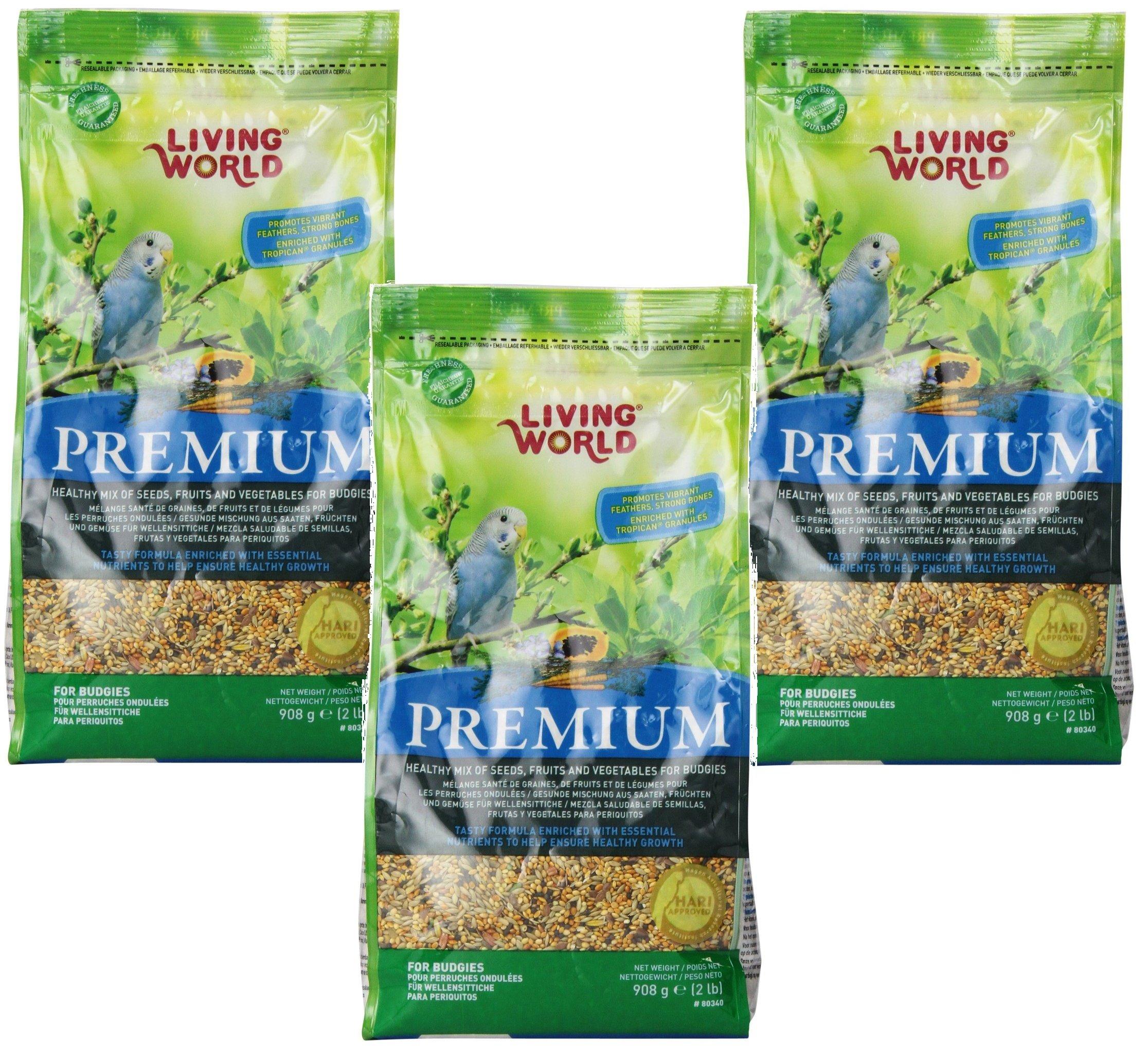 (3 Pack) Living World Premium Parakeet/Budgie Mix, 2 Pounds each