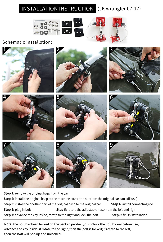 BOXATDOOR Hood Latch Lock For Jeep Wrangler JK 2007-2017 Engine Hood Latch Catch Locking Red Zinc alloy