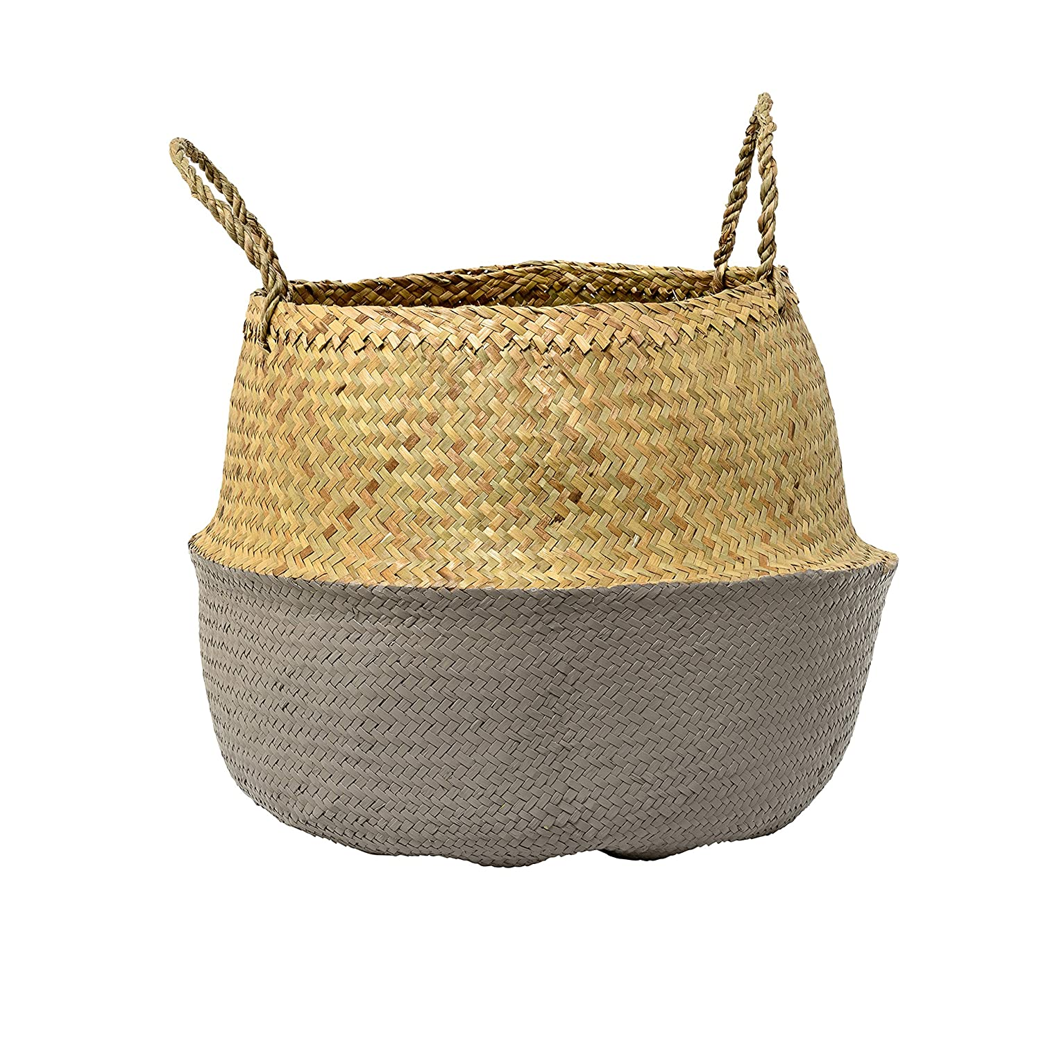 Bloomingville A928004 Medium Beige Collapsible Seagrass Basket with Handles