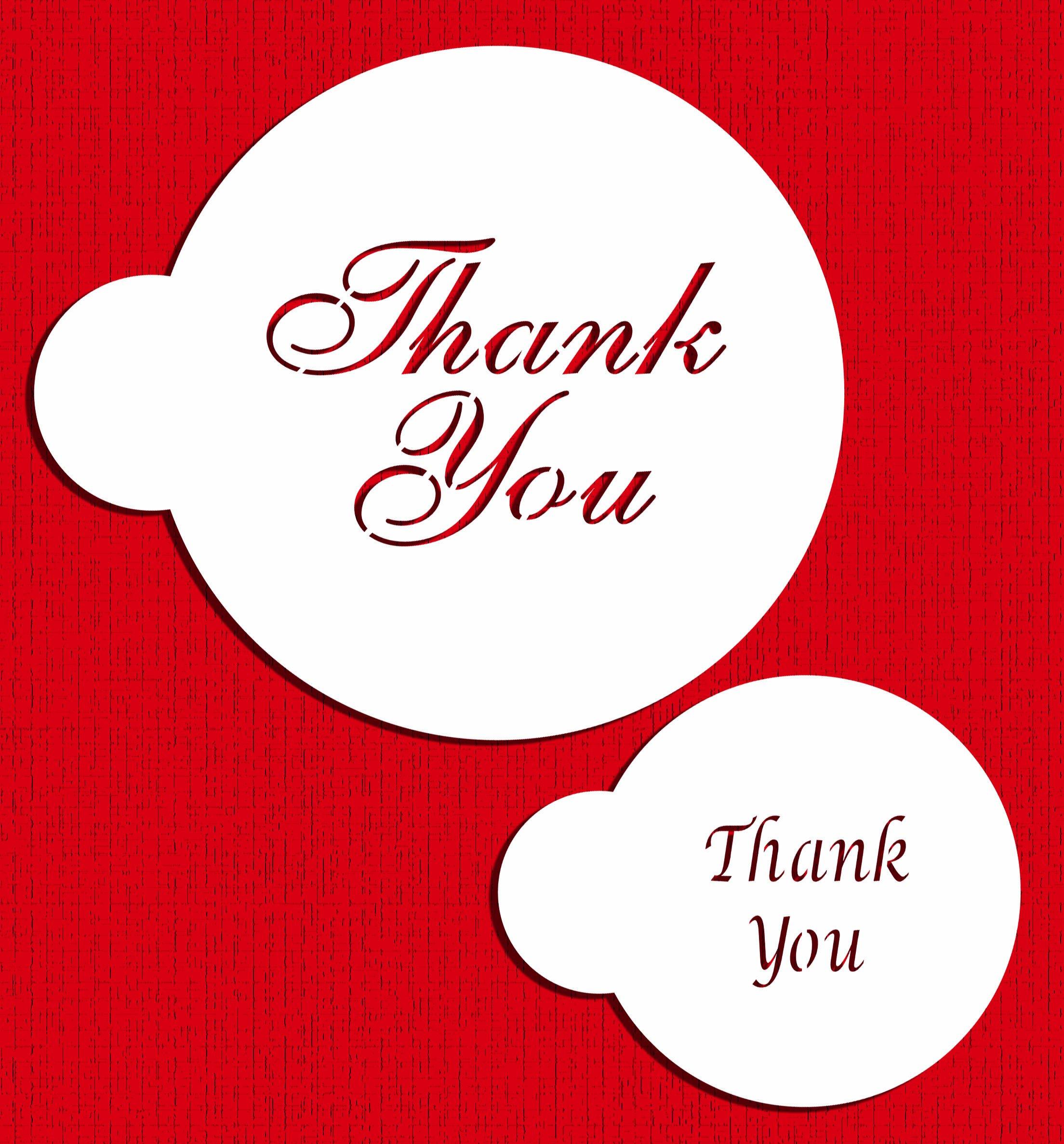 Designer Stencils C735 Thank You Cookie and Cupcake Stencil Set, Beige/Semi-Transparent