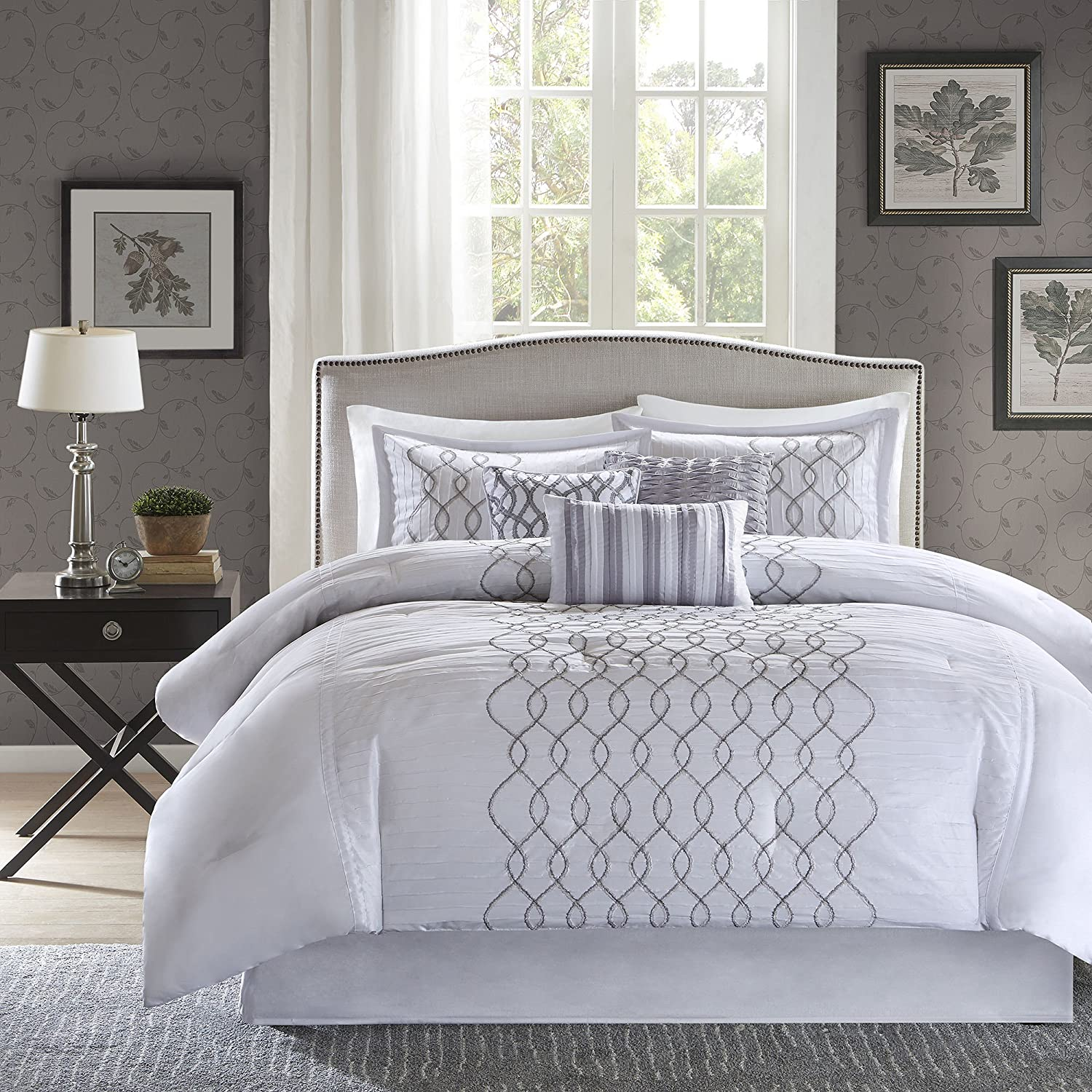 Madison Park Iris 7 Piece Comforter Set, King, Silver