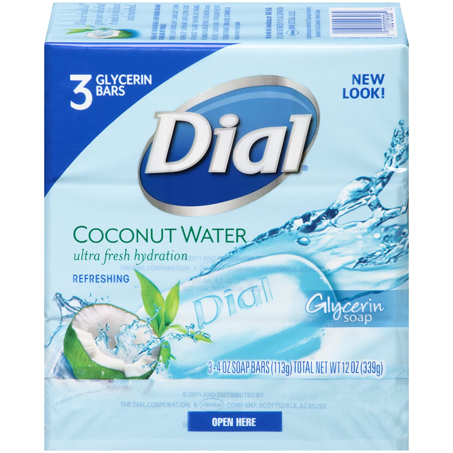 Dial Soap, Glycerin Bars, Coconut Water & Bamboo Leaf Extract 3 - 4 oz (113 g) bars [12 oz (340 g)] by Dial Henkel Company Di741