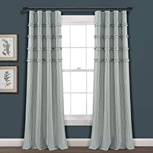 "Lush Decor, Denim Blue Vintage Stripe Yarn Dyed Cotton Window Curtain Panel Pair, 84"" x 40"""