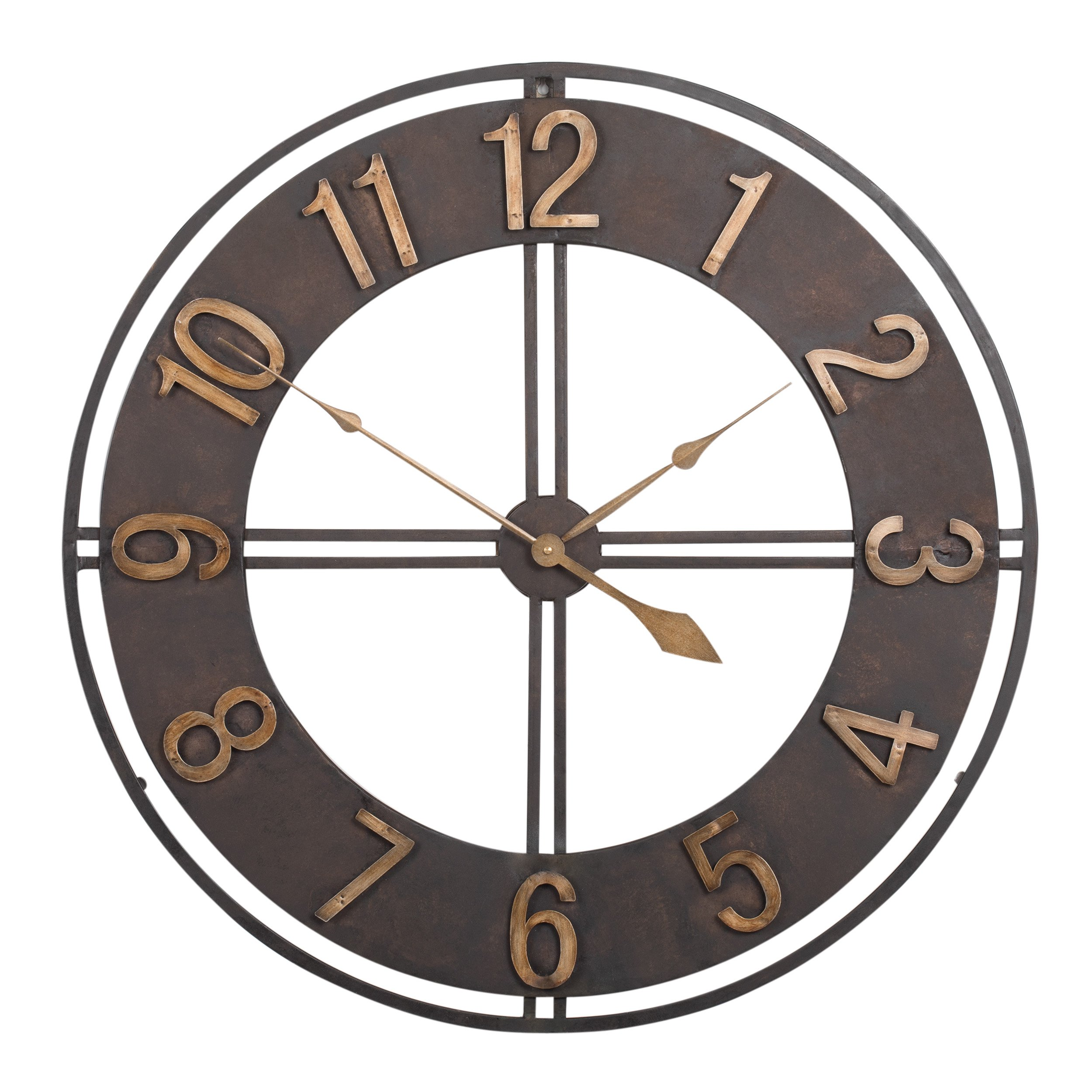 Studio Designs Home Industrial Loft 30 Inches Metal Wall Clock, Dark Bronze/Bronze