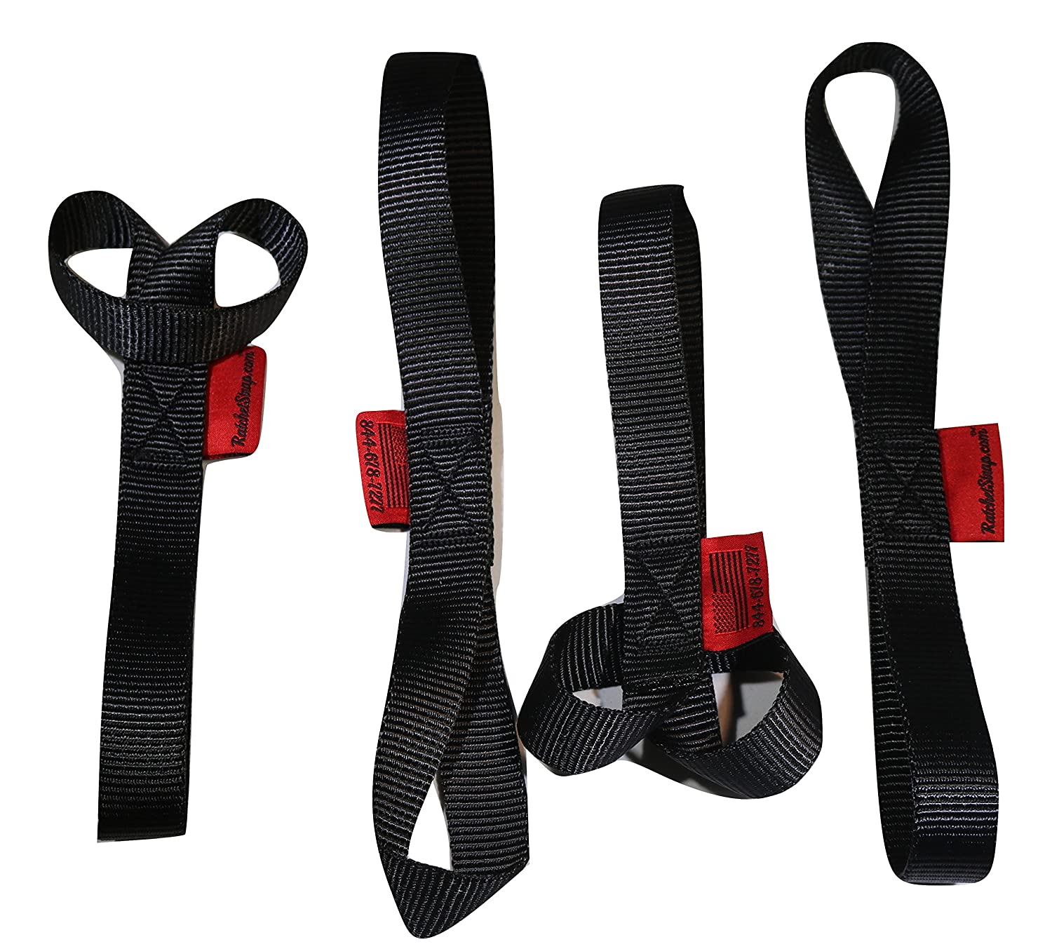 (4) 1 inch X 12 inch Soft Tie Loops - Made in USA 4, 500 lb. Web RatchetStrap.com