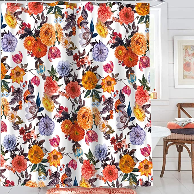 We Art Floral Shower Curtains Fabric Blossom Shower Curtain Set With 12 Hooks Red White 72 72 Amazon Ca Home Kitchen