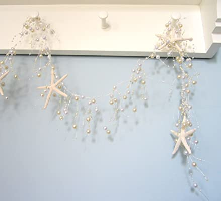 Beach Decor Nautical Beaded Starfish Garland - White Starfish Decorative Garland - 5FT - #BSFG PEARL