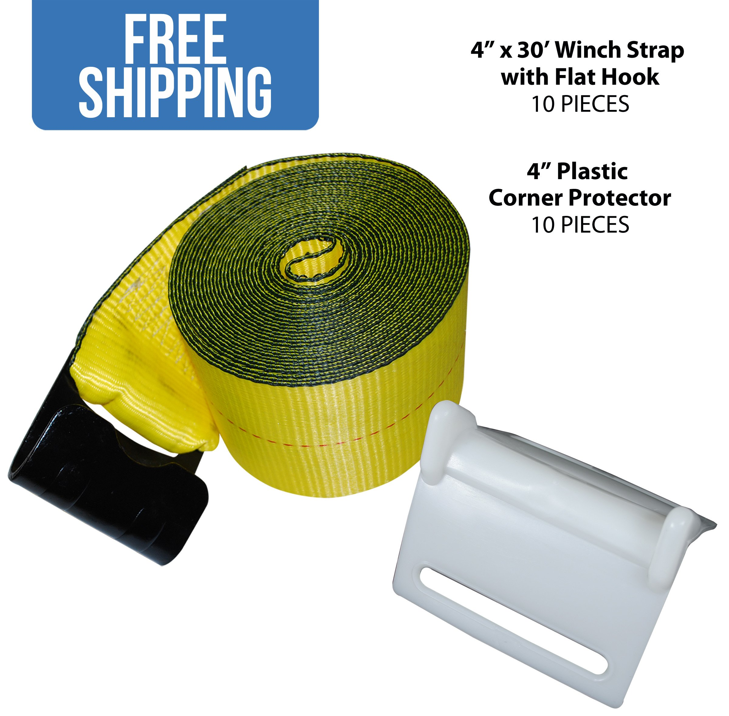 """4"""" x 30' Winch Strap w/ Flat Hook — 10 PACK & 10 White Corner Protectors — Shippers Supplies"""