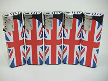 UNION JACK WindProof Turbo Jet BLUE Double Flame GAS REFILLABLE CIG  LIGHTER