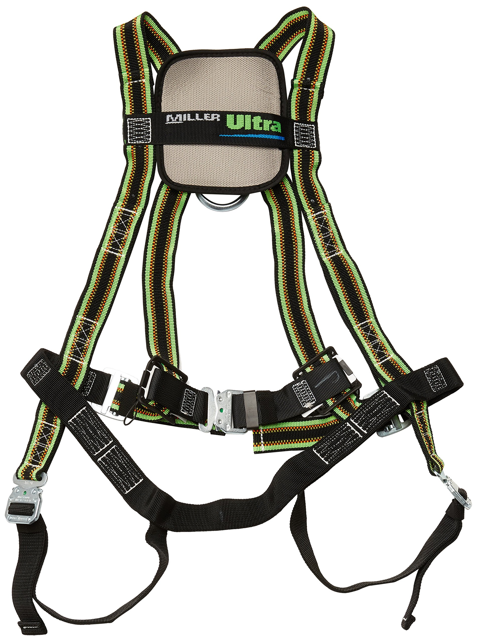 Miller DuraFlex Ultra Stretchable Full Body Safety Harness with Quick-Connect Buckles and Comfort-Touch Back D-Ring Pad, Universal Size-Large/XL, 400 lb. Capacity (E650QC/UGN)