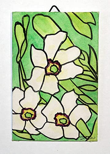on canvas paper,dimensions inch 3.9x5.9x0.1 inch.ready to be attached to the wall.Made in Italy Tuscany Lucca Narcissus flowers Created by Davide Pacini. Painted in watercolor