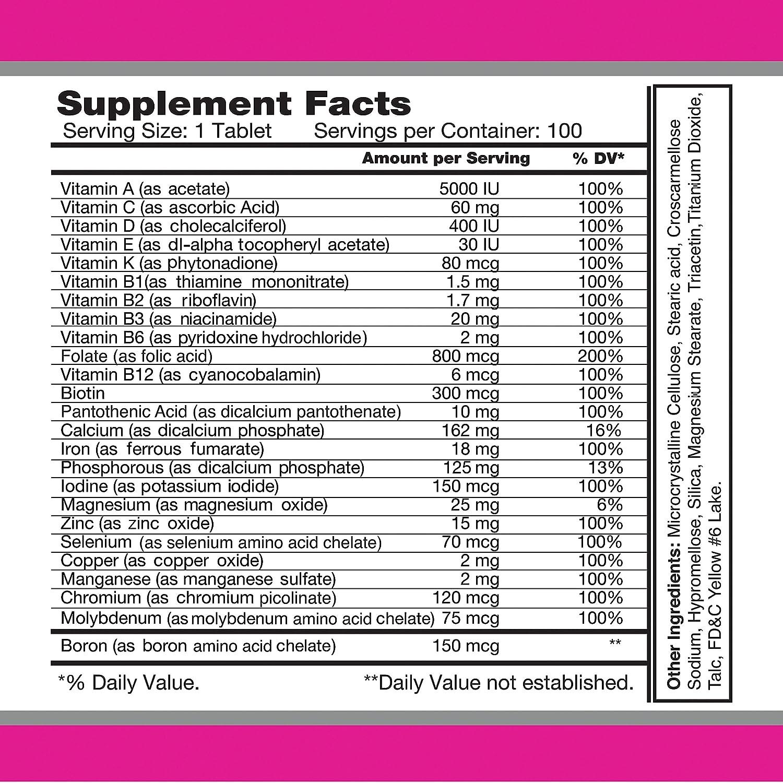 Amazon.com: Multi Women 100 Tablets - Dietary Supplement - Vitamins & Minerals - Herbs - Amino Acids - Antioxidants: Health & Personal Care