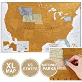 Maps International Scratch Off Map Of The US – USA Wall Map – Scratch Off – Detailed cartography - US States - National…