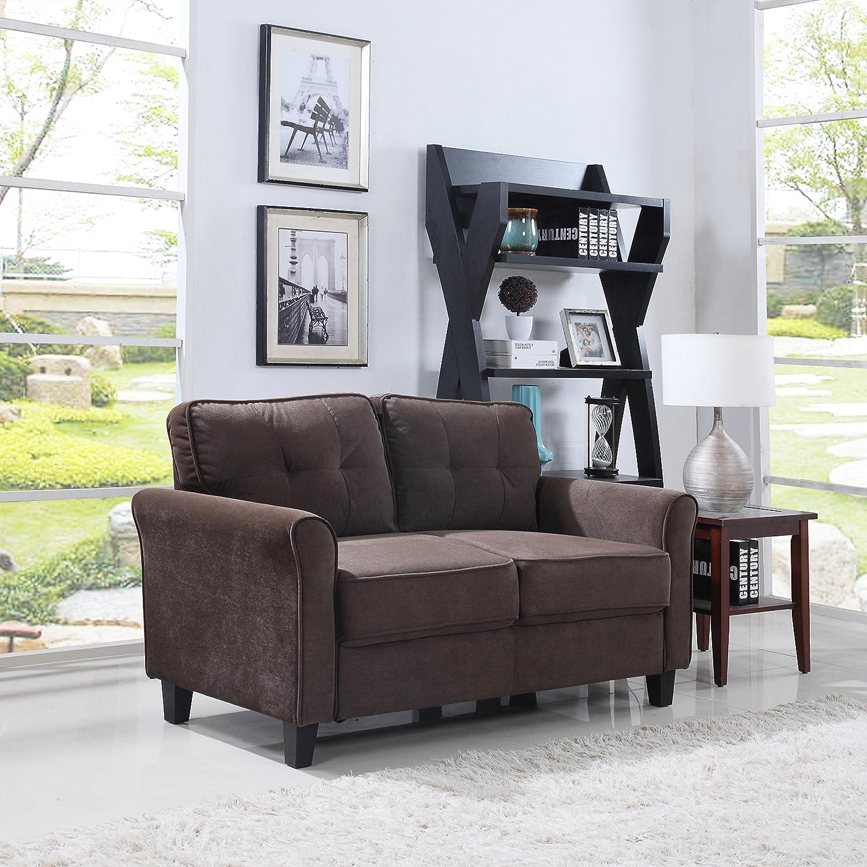 Amazon com classic ultra comfortable brush microfiber fabric living room love seat brown kitchen dining