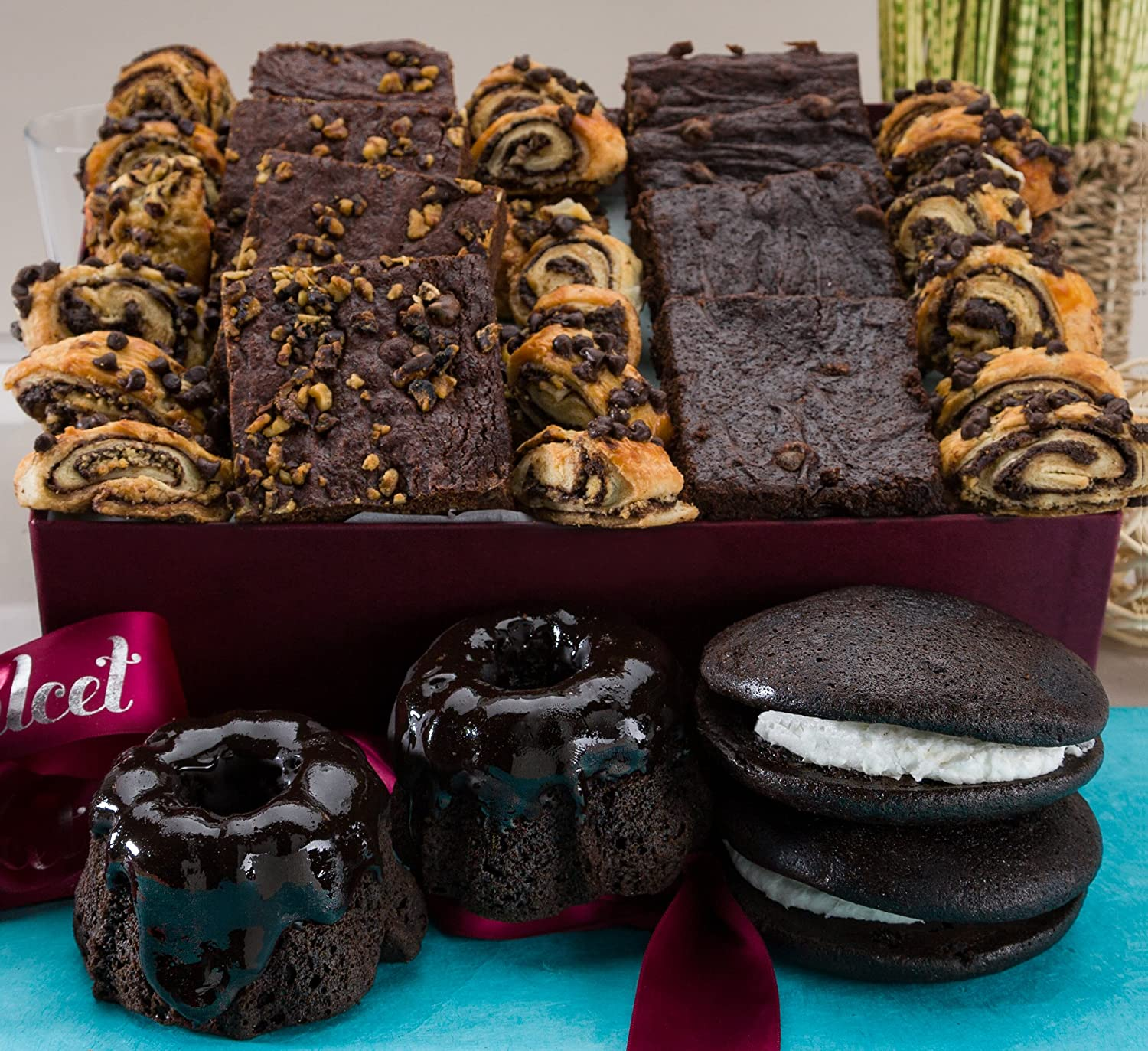 Gourmet Chocolate Lovers #1 Brownie Ganache Bakery Collection Filled with: Chocolate Bundts, Chocolate Brownies, Chocolate Whoopee Pies, Assorted Rugelach, great gourmet gift basket!