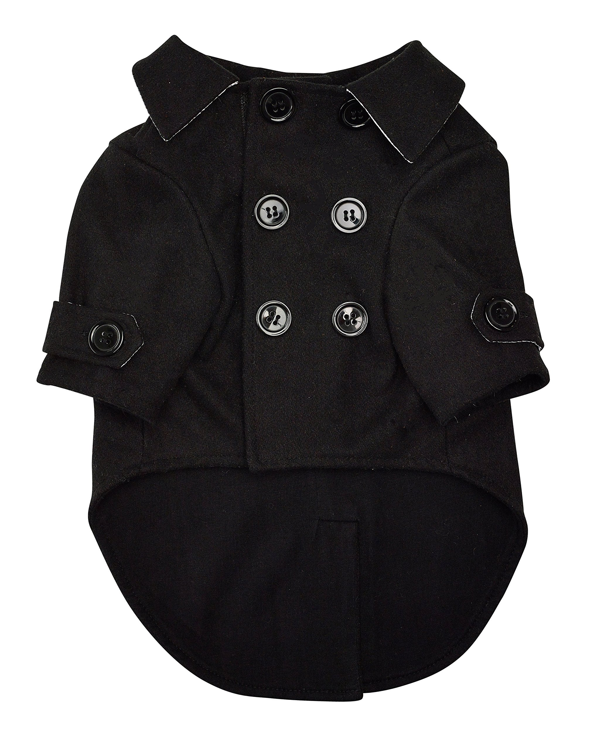 Ellie Dog Wear The Wallstreet Peacoat with Reflectors for Night Visibility and Adjustable Hook & Loop Straps - Available in Sizes Extra Small to Extra Large. Comfortable Winter Dog Clothing (S)