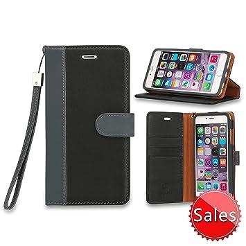 SHIELDON iPhone 6s Plus funda, funda piel original en folio, carcasa piel, soporte plegable, billetera para tarjetas, funda para iPhone 6s Plus / ...